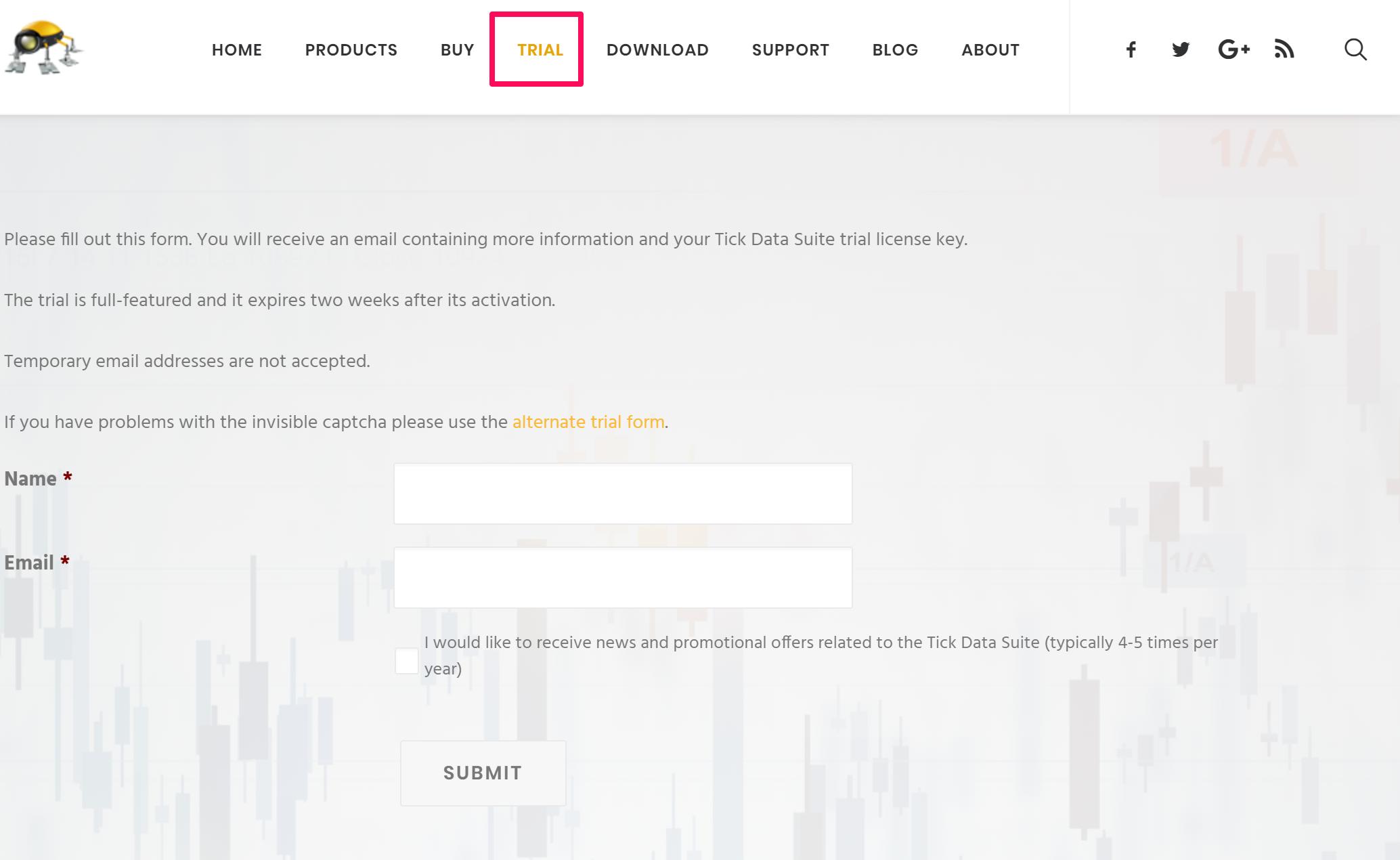 Tick Data Suiteの申し込みページ